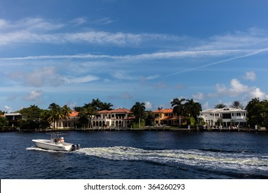 SUNNY ISLES BEACH, FL - JANUARY 1, 2016: Luxury villas in the Sunny Isles Beach, located on a barrier island in northeast Miami-Dade County, Florida.