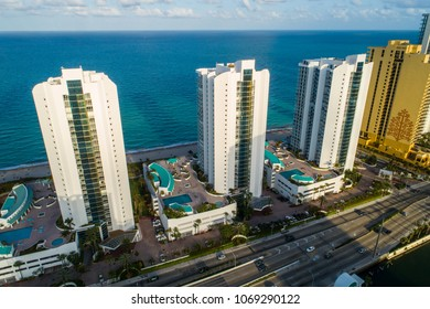 SUNNY ISLES BEACH, FL, USA - APRIL 10, 2018: Aerial drone photo Oceania Towers Sunny Isles Beach Florida