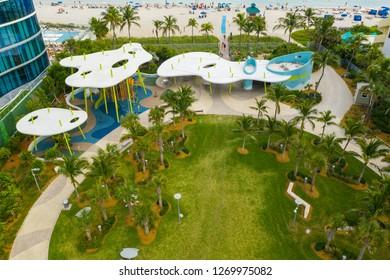 SUNNY ISLES BEACH, FL, USA - DECEMBER 15, 2018: Aerial drone image Gilbert Samson Oceanfront Park