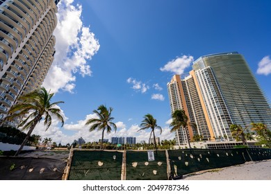 Sunny Isles Beach, FL, USA - September 26, 2021: Vacant land in Sunny Isles Beach soon to be developed by Chateau and Fortune International Groups