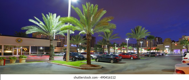 SUNNY ISLES BEACH - SEPTEMBER 27: Twilight photo of an RK Shopping plaza which is a commercial retail shopping center managed by RK Centers September 27, 2016 in Sunny Isles Beach FL