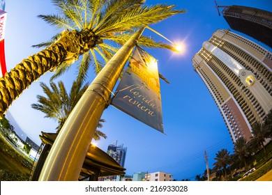 SUNNY ISLES BEACH, USA - AUG 18, 2014: skyscraper at seafront in Sunny Isles Beach, USA. Sunny Isles Beach is also called Riviera of Florida.