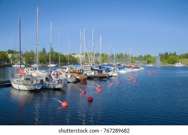 Sunny June day in the harbor of Lappeenranta. Finland