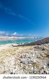 Sunny landscape of Island of Pag, Croatia, Europe