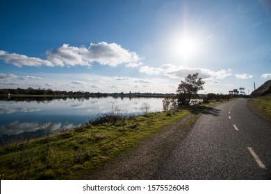Sunny landscape on American River in Sacramento