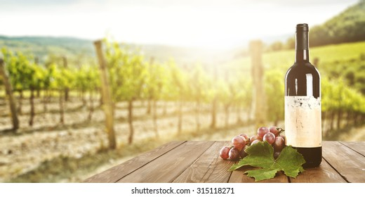 sunny landscape of vineyard with green leaves and red fruits and wine bottle