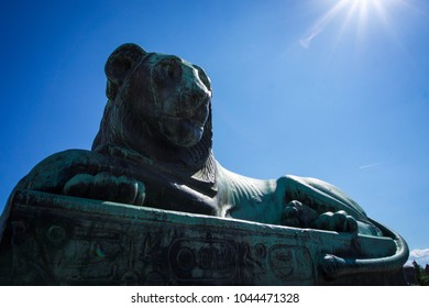 Sunny lion sculpture in sweden