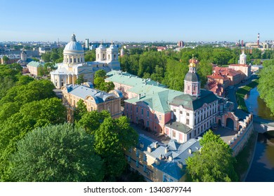 Sunny May Day over the Alexander Nevsky Lavra (aerial photography). Saint-Petersburg, Russia