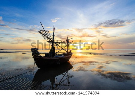 Sunny Morning Beach Silhouette Boat Wallpaper Stock Photo Edit Now