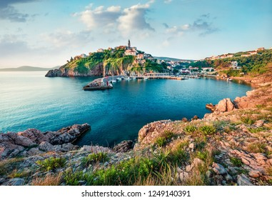 Sunny morning cityscape of Vrbnik town. Romantic summer seascape of Adriatic sea, Krk island, Kvarner bay archipelago, Croatia, Europe. Beautiful world of Mediterranean countries.