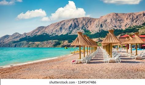 Sunny morning scene of Baska Beach. Amazing summer seascape of Adriatic sea, Baska town location, Krk island, Kvarner bay archipelago, Croatia, Europe. Beautiful world of Mediterranean countries.