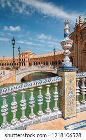 Sunny morning view of arhitectural complex in Plaza de Espana in Sevilla, Andalusia province, Spain.