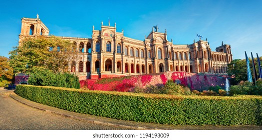 Sunny morning view of Maximilianeum, Home of the Bavarian State Parliament, with interiors viewable by guided tour only and a park setting, Munich, Bavaria, Germany, Europe.