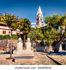 Sunny morning view near Saint Martin's church. Picturesque spring cityscape of small town in Istria, Croatia -  Vrsar (Orsera). Vacation concept background. Magnificent Mediterranean landscape.