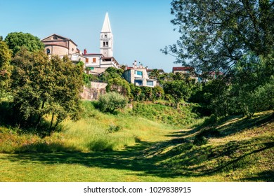 Sunny morning view of Saint Martin's church. Splendid spring cityscape of small town in Istria, Croatia -  Vrsar (Orsera). Vacation concept background. Traveling concept background.