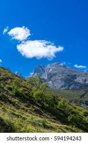 Sunny mountain. Cantabria, Bulnes, Spain.