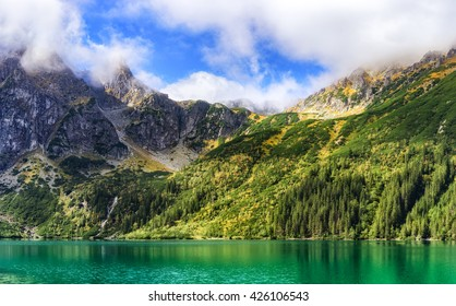 Sunny mountain landscape. Mountain range above Morskie Oko Lake, Tatra National Park, Poland