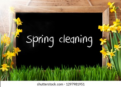 Sunny Narcissus, Chalkboard, English Text Spring Cleaning