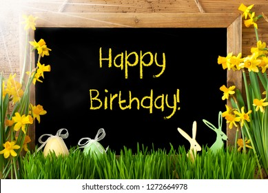 Sunny Narcissus, Easter Egg, Bunny, Text Happy Birthday