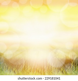 Sunny nature background with bokeh and sun rays  on grass