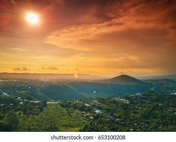Sunny Nicaragua landscape aerial view. Green hill and mountain In Managua