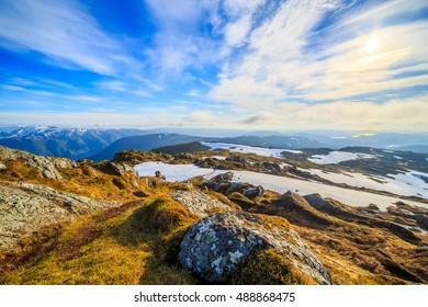 Sunny Norwegian landscape in summer