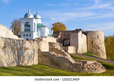 Sunny October day at the walls of the Izborsk fortress. Pskov Region, Russia