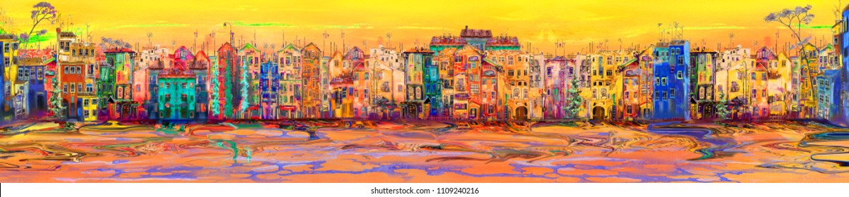Sunny panorama of town near the sea, oil painting artwork