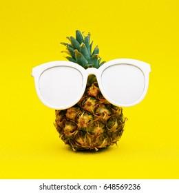 Sunny pineapple. Minimal art