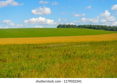 Sunny plain landscape with farm field panoramic view