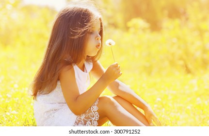 Sunny portrait of cute little girl child blowing dandelion flower in summer day