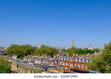 Sunny residential skyline of West London