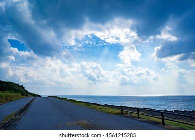 Sunny road in Yonaguni, Okinawa.