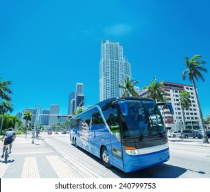 Sunny roads of Miami, Florida, USA.