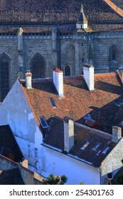 Sunny rooftops near the Black Church inside the old town of Brasov, Romania