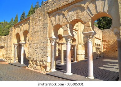 Sunny ruins of the Upper Basilica building from the Medina Azahara (fortified Arab Muslim medieval palace-city) near Cordoba, Andalusia, Spain