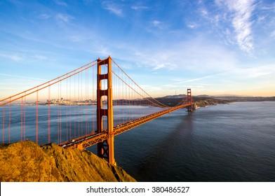Sunny San Francisco skyline with the Golden Gate Bridge