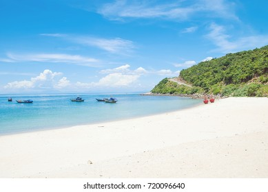 Sunny sandy beach of Cham Islands. Central Vietnam