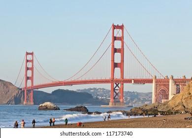 Sunny Saturday on Baker Beach in San Francisco.