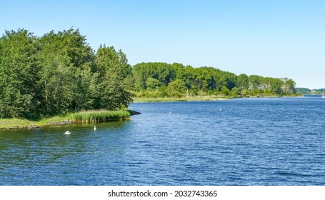 Sunny scenery around river Trave in Luebeck Bay
