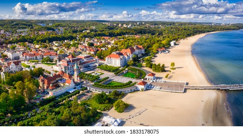 The sunny scenery of Sopot city and Molo - pier on the Baltic Sea. Poland