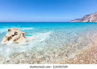 Sunny seaside of Ionian Sea island