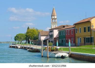 A sunny September day on the quay of Mazzorbo island. Venice, Italy