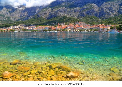 Sunny shore of the Adriatic sea near the Dalmatian coastline, Makarska, Croatia