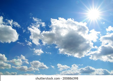 sunny sky background whith  clouds