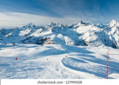 Sunny slope in swiss Alps