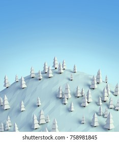 Sunny snowy winter day, low poly 3D rendered landscape, blue sky, white hill, spruce forest