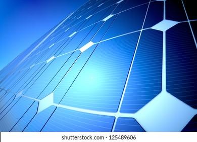 Sunny solar blue shiny panel reflecting the sunlight, closeup