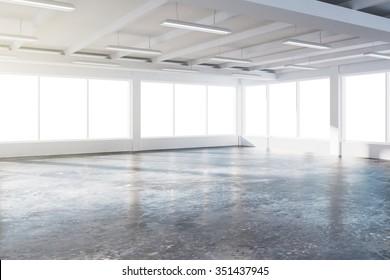 Sunny spacious hangar area with concrete floor and windows in floor 3D Render
