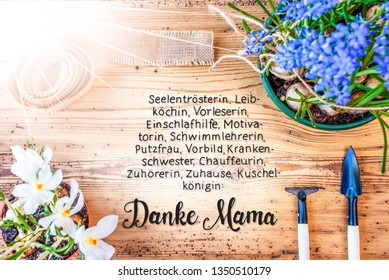 Sunny Spring Flowers, Calligraphy Danke Mama Means Thanks Mom